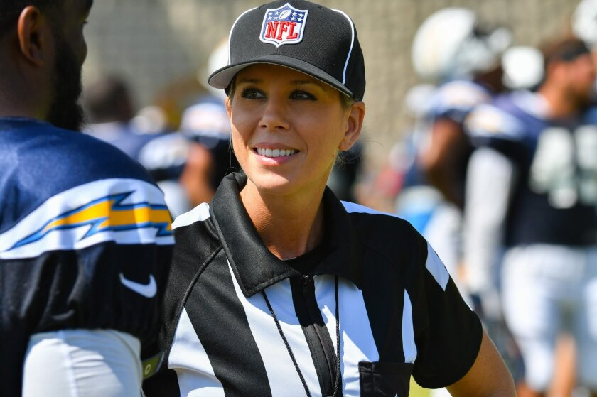 Sarah Thomas is the NFL's only female official. She visited Chargers training camp on Thursday, Aug. 4. Mike Nowak photo