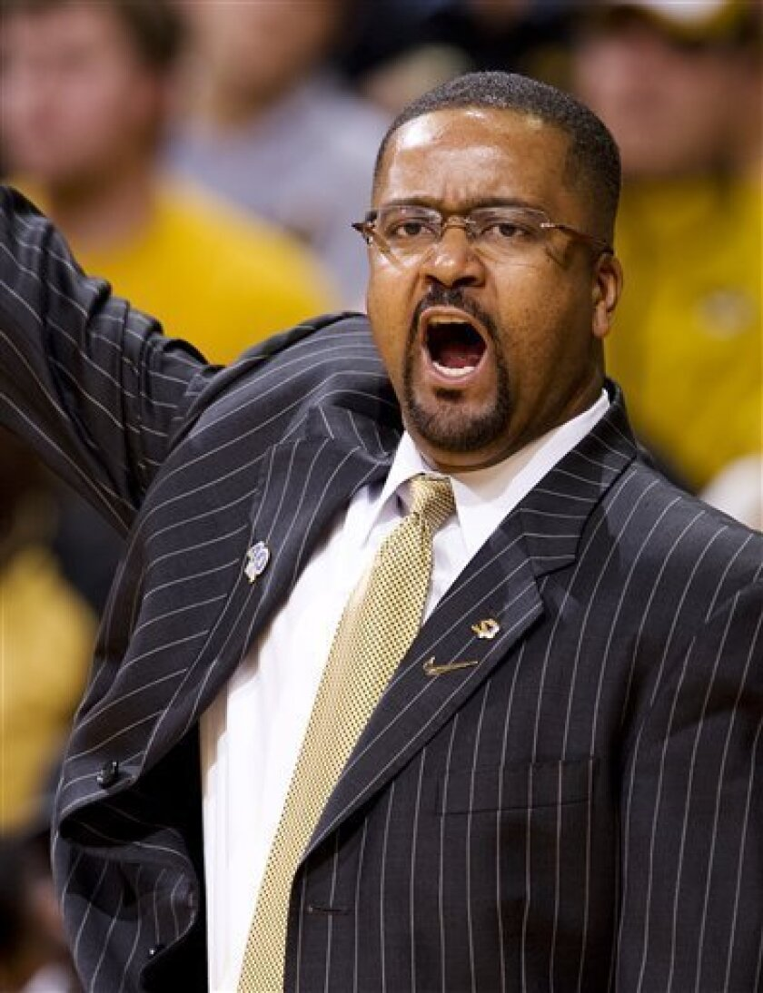 Missouri head coach Frank Haith shouts commands to his team during the first half of an NCAA college basketball game against Texas Tech Saturday, Jan. 28, 2012, in Columbia, Mo. Missouri won the game 63-50. (AP Photo/L.G. Patterson)
