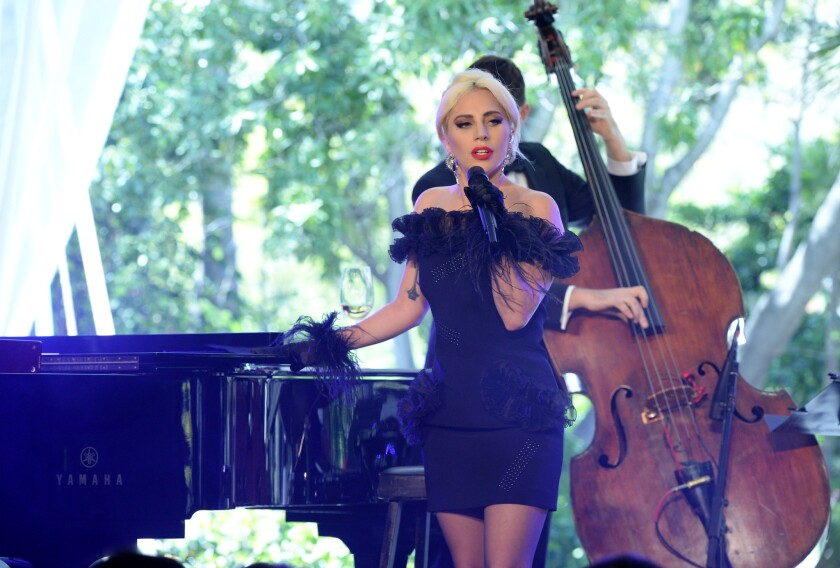 Lady Gaga performs during the Grammy Museum's Jane Ortner Education Award Luncheon in Beverly Hills.