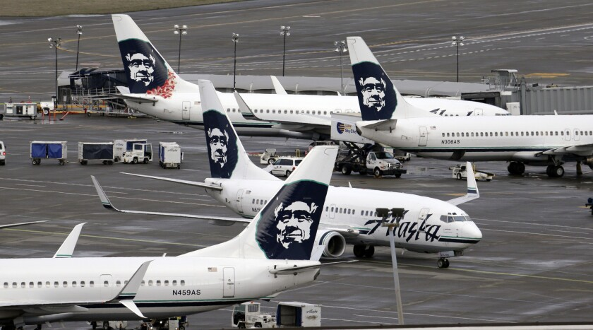Alaska Airlines jets at Seattle-Tacoma International Airport.