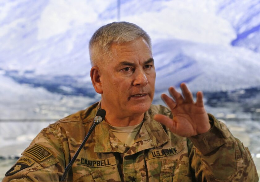U.S. Army General John F. Campbell, commander of U.S. and NATO forces in Afghanistan, speaks during a news conference at Resolute Support headquarters in Kabul, Afghanistan, Saturday, Feb. 13, 2016. Speaking weeks before he ends his command, Campbell confirmed that U.S. special forces would be depl