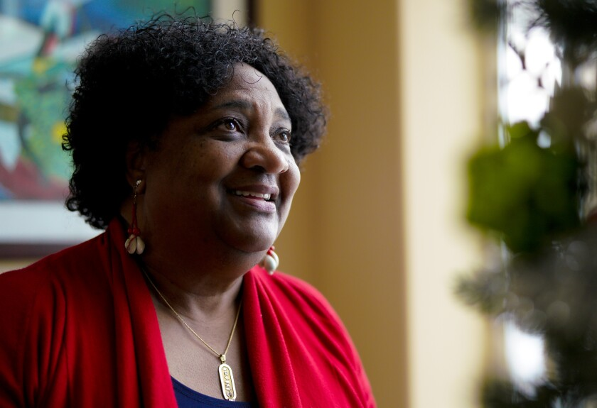 Shirley Weber at her home on Dec. 23, 2020.