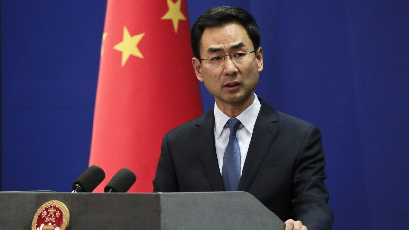 Chinese Foreign Ministry spokesman Geng Shuang during a daily briefing at the Ministry of Foreign Affairs office in Beijing earlier this year.