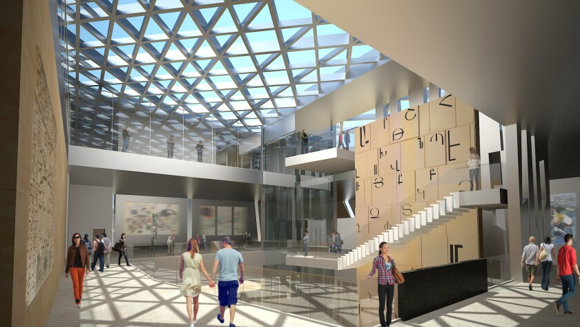 Renderings of the proposed Armenian American Museum and Cultural Center of California.