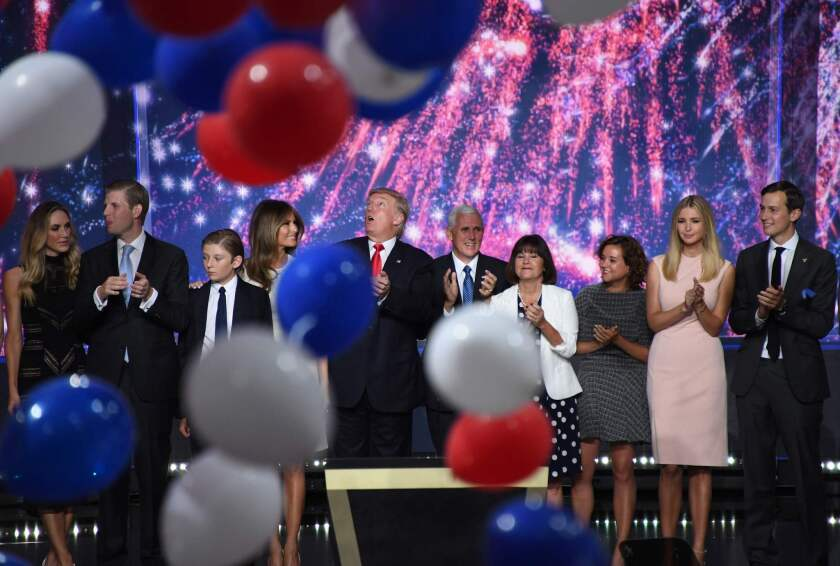 President Trump and Vice President Mike Pence are joined by their families at the end of the 2016 RNC in Cleveland.