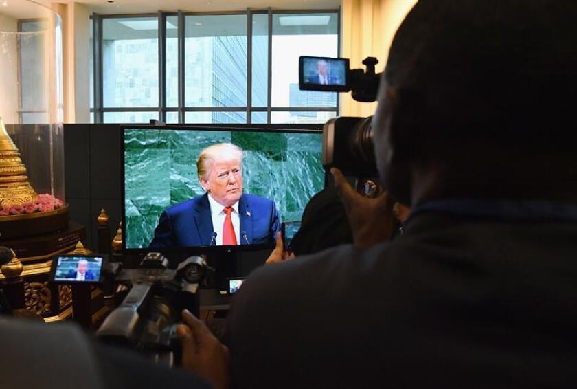 El discurso populista del presidente Donald Trump se topó hoy con una audiencia escéptica en la Asamblea General de la ONU, que no pudo reprimir la risa al escuchar una hiperbólica defensa de las hazañas económicas del mandatario. EFE/ARCHIVO