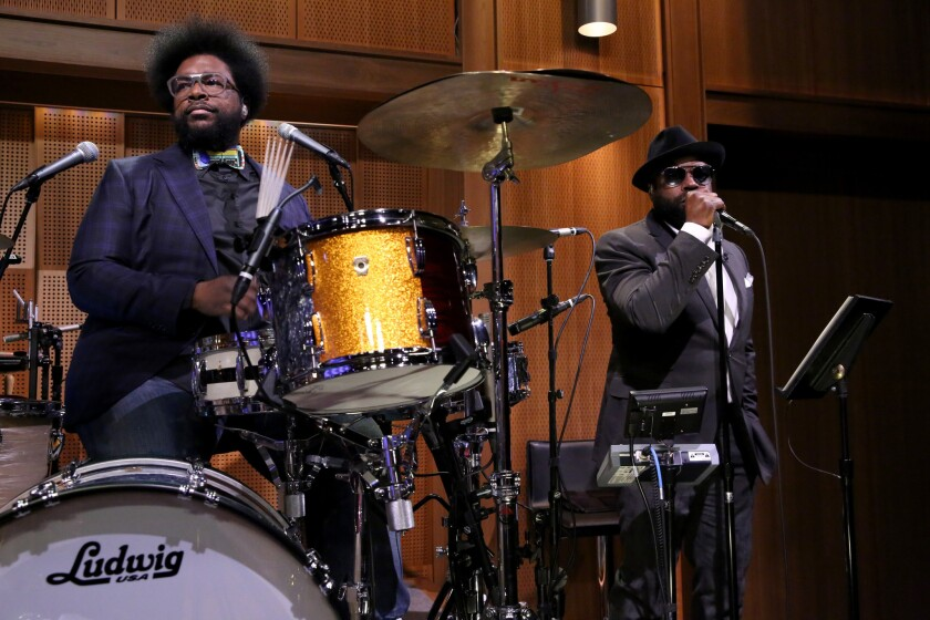"""Ahmir """"Questlove"""" Thompson, left, and Tariq """"""""Black Thought"""""""" Trotter on""""The Tonight Show."""""""