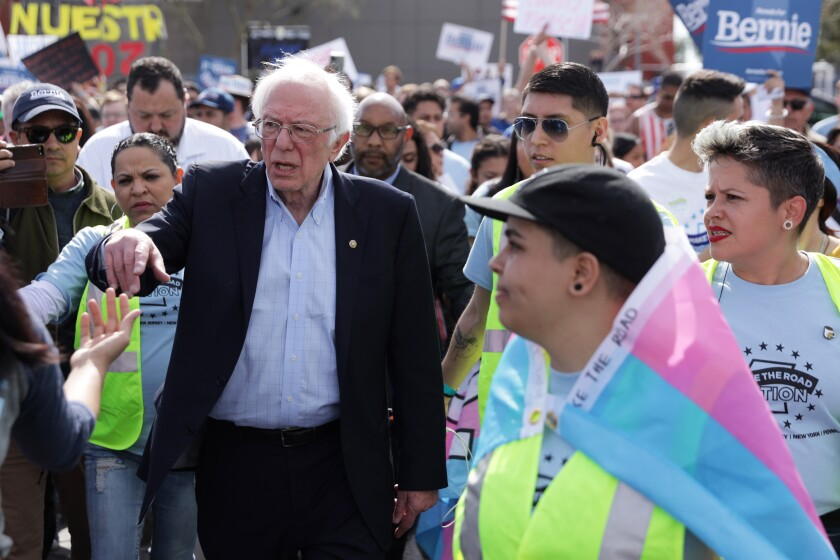 Sen. Bernie Sanders greets supporters in Las Vegas on Saturday.