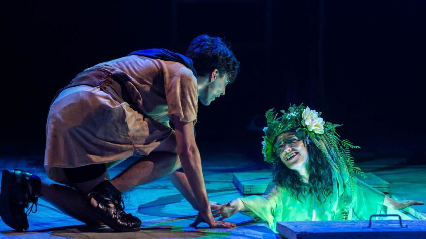"""Hylas (Richy Storrs) encounters a water nymph (Angela Gulner) in A Noise Within's production of """"Argonautika."""""""