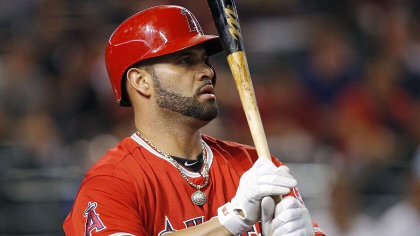 Los Angeles Angels' Albert Pujols steps in to bat against the Arizona Diamondbacks during the first