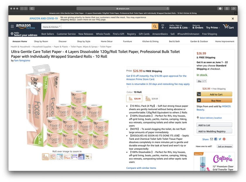 This Amazon.com screen grab, made on April 9, shows toilet paper Times reporter Daniel Miller purchased during the COVID-19 pandemic.