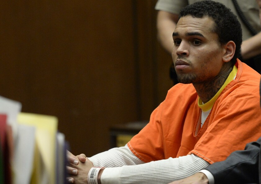 Chris Brown appears in court in Los Angeles on May 1. He was released from jail this week.