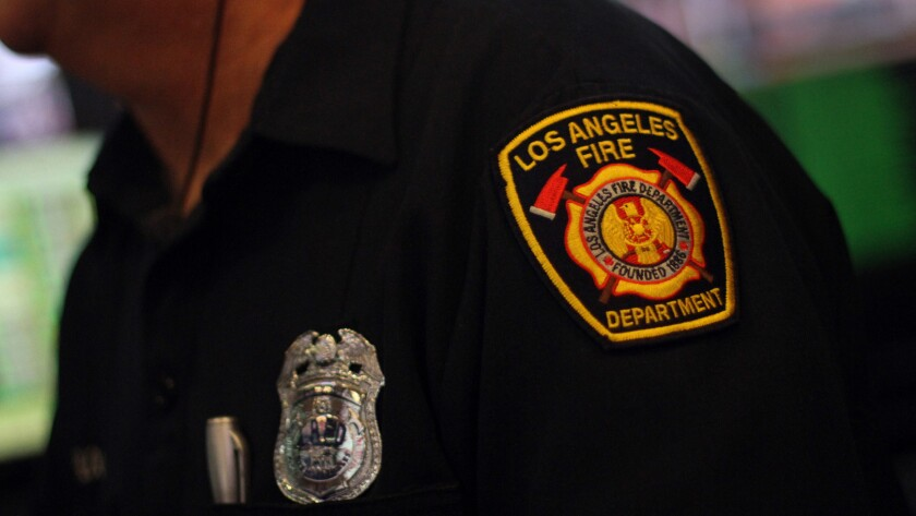 A Los Angeles Fire Department patch on a person's uniform.