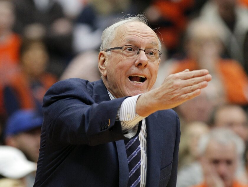 FILE- In this Jan. 30, 2016, file photo, Syracuse head coach Jim Boeheim directs to his players in the first half of an NCAA college basketball game against Georgia Tech in Syracuse, N.Y. Boeheim was suspended earlier this season by the NCAA as part of penalties handed down last March in an eight-y