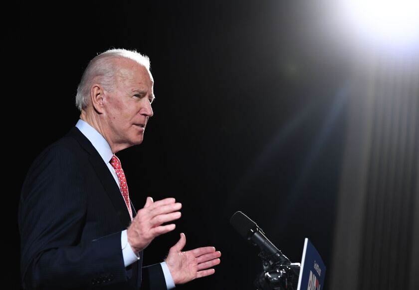 Former U.S. Vice President and Democratic presidential hopeful Joe Biden speaks about the coronavirus during a press event in Wilmington, Del., on March 12.