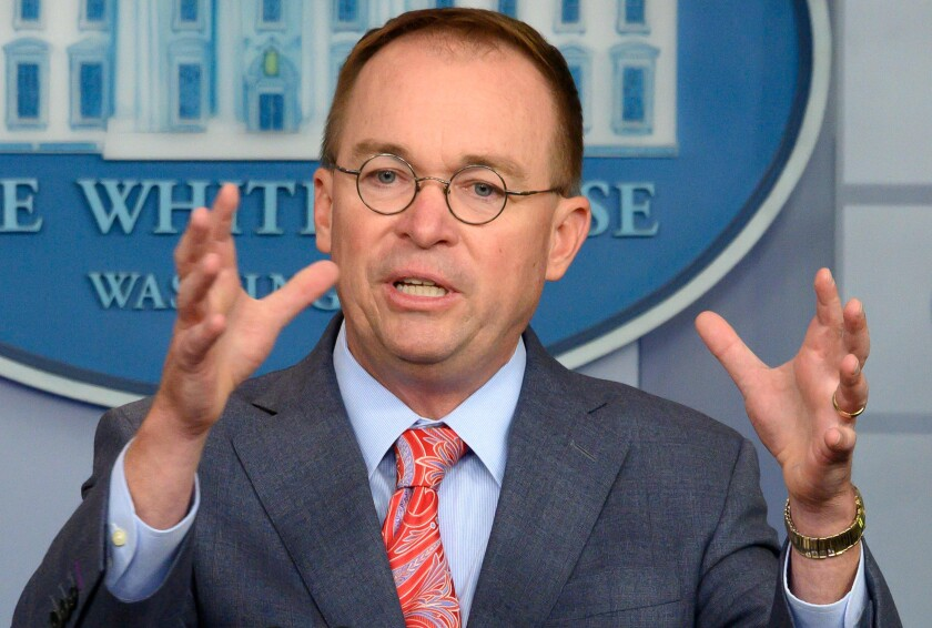 Acting White House Chief of Staff Mick Mulvaney speaks during a media briefing at the White House on Thursday.
