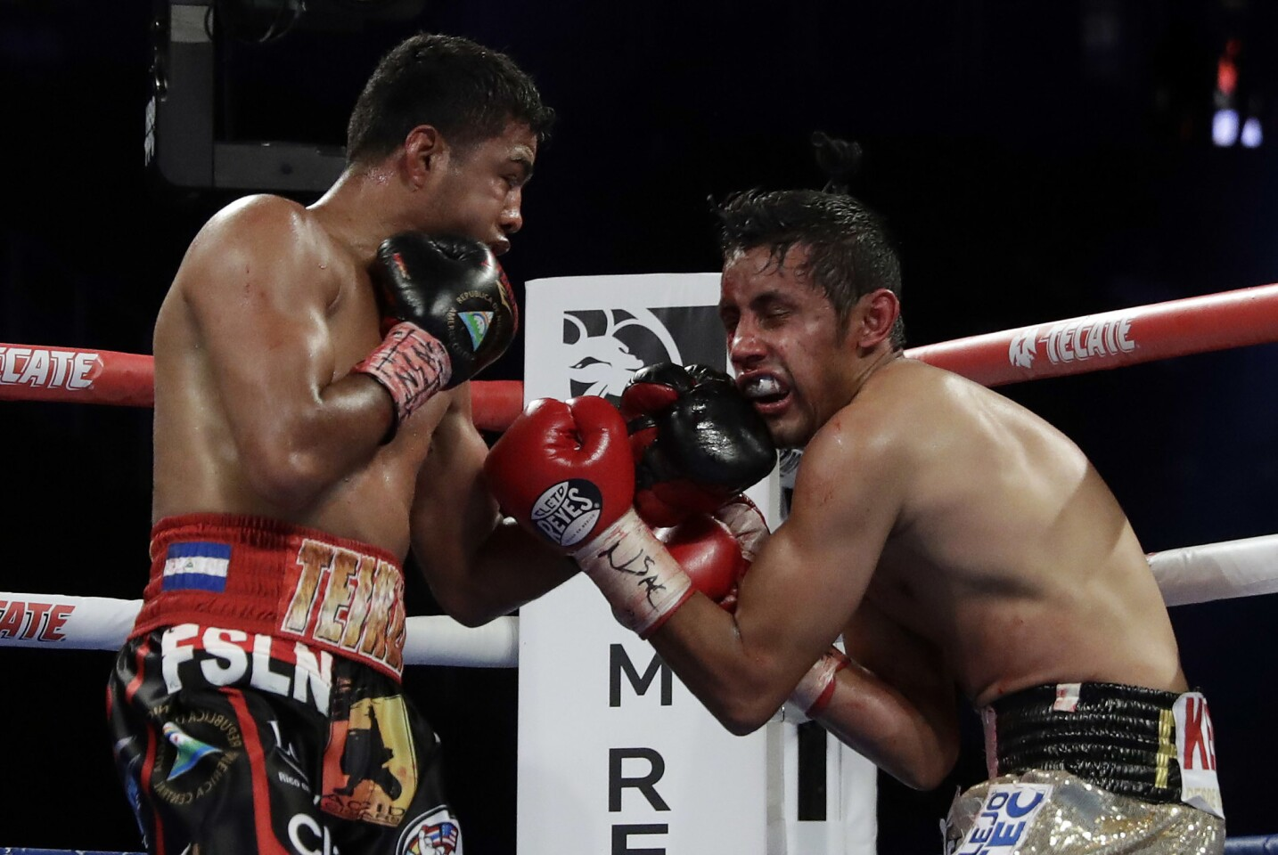 Roman Gonzalez, left, punches Moises Fuentes during their bantamweight boxing match, Saturday, Sept. 15, 2018, in Las Vegas. Gonzalez won by TKO.