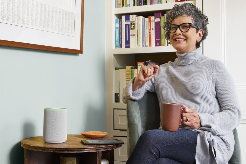 Voice technology like the Amazon Echo, pictured here, allows seniors to safely interact with their physical environment while keeping connected with friends and family.