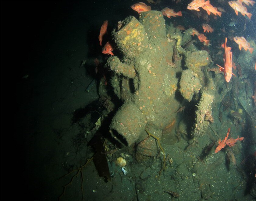 The engine of the SBD-3 Dauntless found off Pacific Beach.