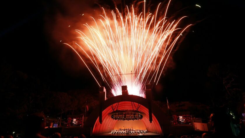 LOS ANGELES, CA - AUGUST 5, 2016: Gustavo Dudamel conducts his last Hollywood Bowl program of the su