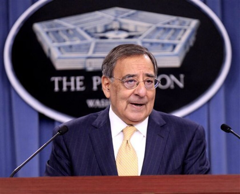 Defense Secretary Leon Panetta speaks at the Pentagon, Thursday, Jan. 5, 2012, to discuss defense strategic guidance. (AP Photo/Pablo Martinez Monsivais)