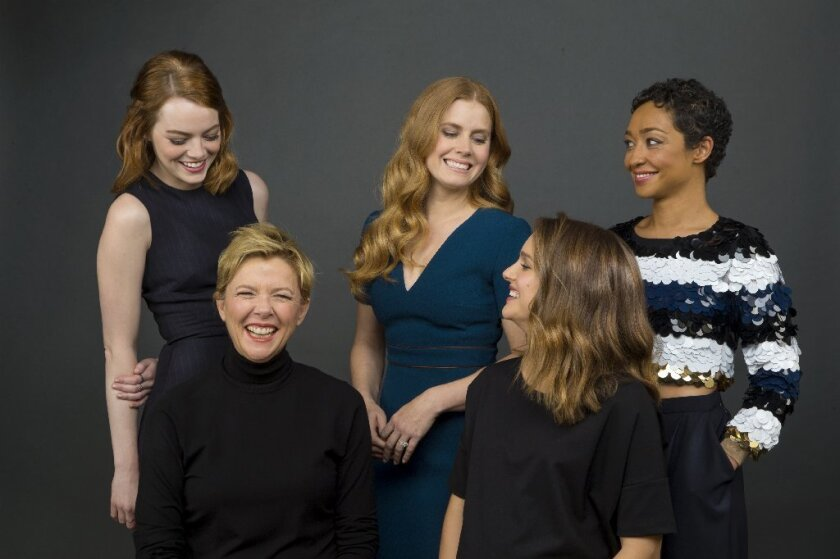 "The Envelope gathered five Oscar-contending actresses to talk about their films: clockwise from back left, Emma Stone (""La La Land""), Amy Adams (""Arrival""), Ruth Negga (""Loving""), Natalie Portman (""Jackie""), Annette Bening (""20th Century Women"")."