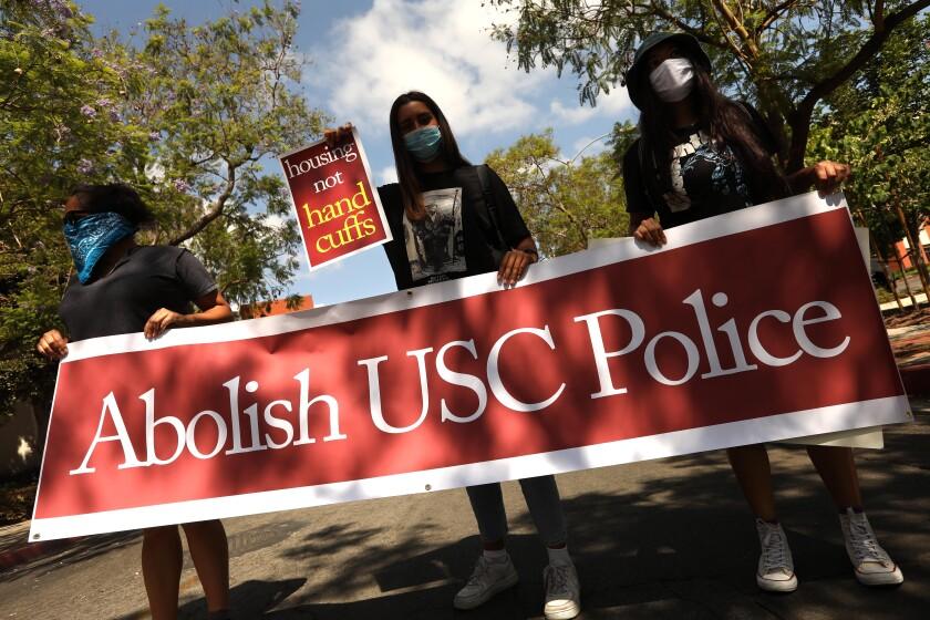 USC students and community activists demand