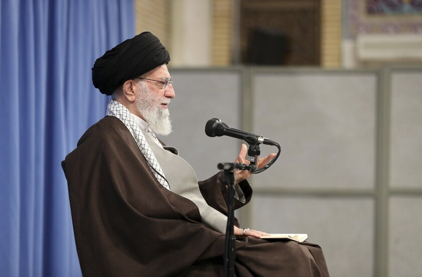 """In this picture released by the official website of the office of the Iranian supreme leader, Supreme Leader Ayatollah Ali Khamenei talks to clerics in his Islamic thoughts class in Tehran, Iran, Sunday, Nov. 17, 2019. Iran's supreme leader supported the government's decision to increase gasoline prices and says that those setting fire to public property during protests against the hikes are """"bandits"""" backed by the enemies of Iran. (Office of the Iranian Supreme Leader via AP)"""