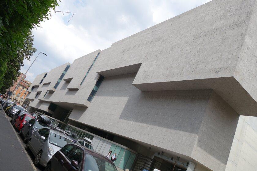 An exterior view of Grafton Architecture's Universita Luigi Bocconi's School of Economics in Milan