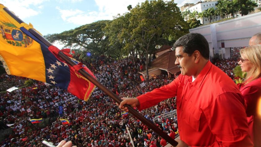 Venezuelan President Maduro gives speech to supporters in front of the Miraflores Palace, Caracas, Venezuela - 23 Jan 2019
