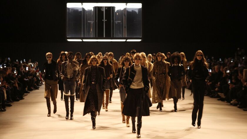 Models wear creations as part of the Celine ready to wear Fall-Winter 2019-2020 collection, that was