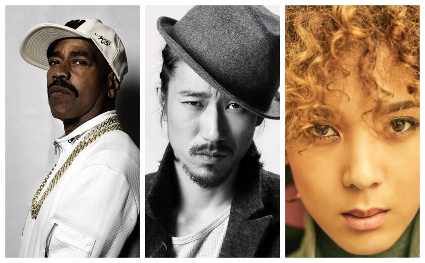 Pictured from left to right are artists Kurtis Blow, Tiger JK and Yoon Mi-rae.