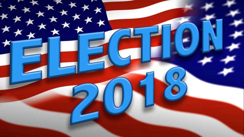 The wording of ELECTION 2018, in blue, appears over a spread of the flags of the United States in th
