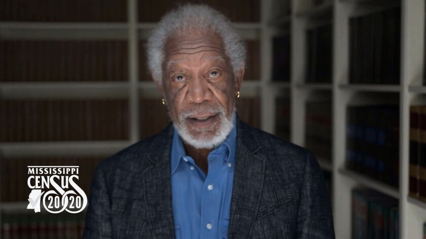 This frame grab from video provided by the Mississippi Complete Count Committee shows actor Morgan Freeman in a public service announcement about the 2020 U.S. Census. Mississippi officials have scrambled to edit the public service announcement about the census that led viewers to an incorrect website. (Courtesy of Mississippi Complete Count Committee via AP)