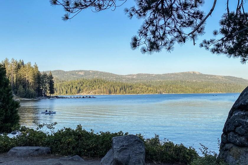 Boulders along the shoreline of a lake