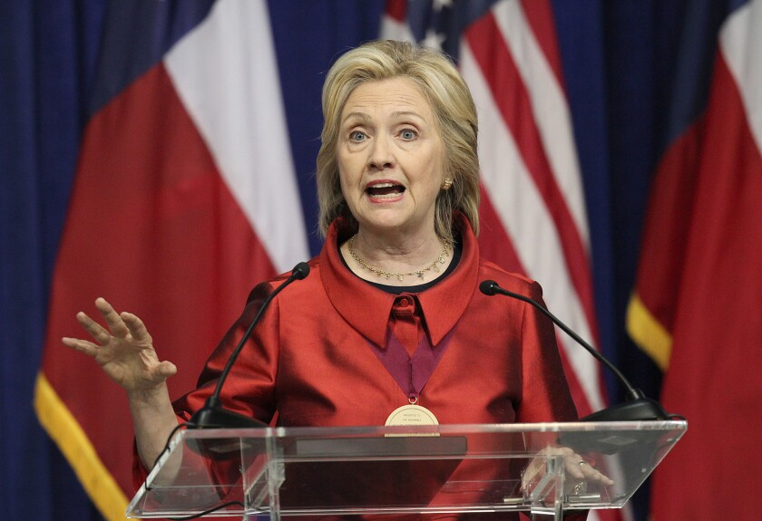Hillary Rodham Clinton speaks in Houston last week. On Saturday, she'll deliver the first major address of her presidential campaign.