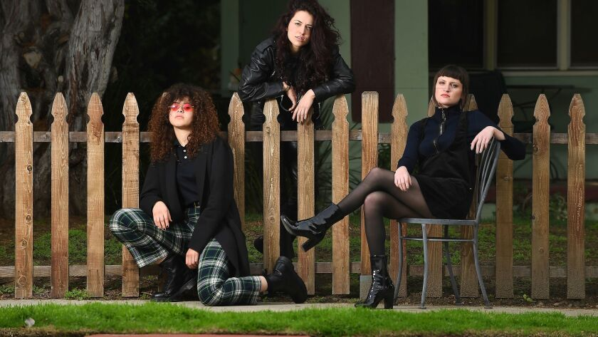 Local trio Muna: Naomi McPherson, left, Josette Maskin and Katie Gavin.