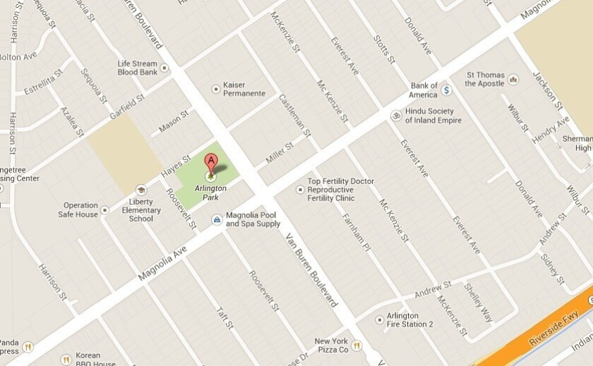 A map shows the location of where a man was shot and killed by Riverside police Dec. 31, 2013.