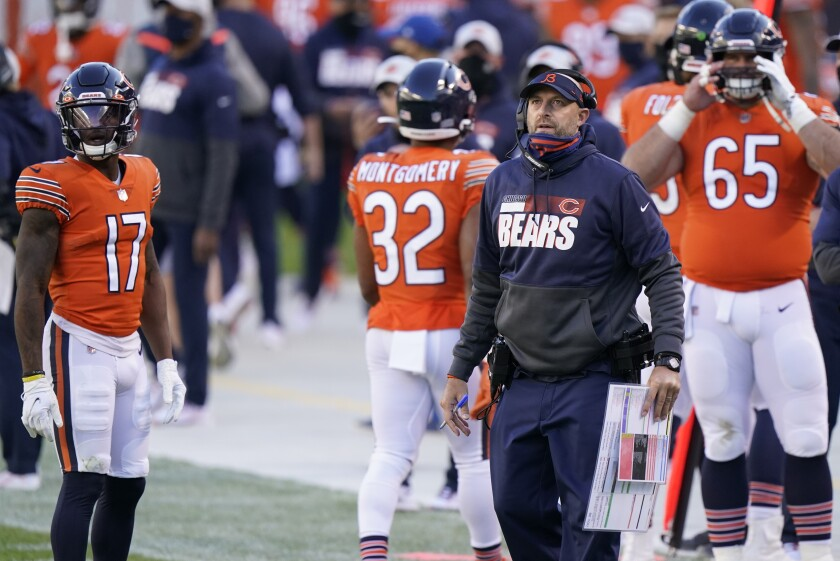 Chicago Bears head coach Matt Nagy questions a call during the first half of an NFL football game against the Indianapolis Colts, Sunday, Oct. 4, 2020, in Chicago. (AP Photo/Nam Y. Huh)