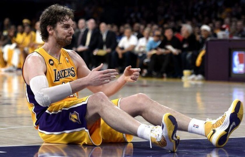 Lakers power forward Pau Gasol missed several games this season with injuries, including aching knees.