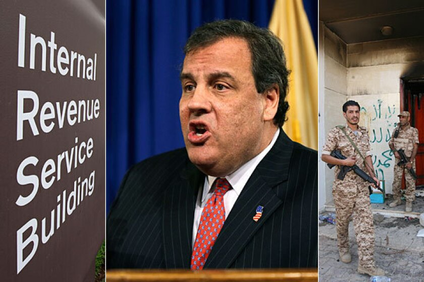 Conservatives want to focus on the IRS and Benghazi instead of Chris Christie's troubles.
