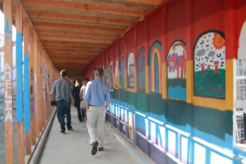 Students have decorated construction walkways at San Dieguito HS Academy.