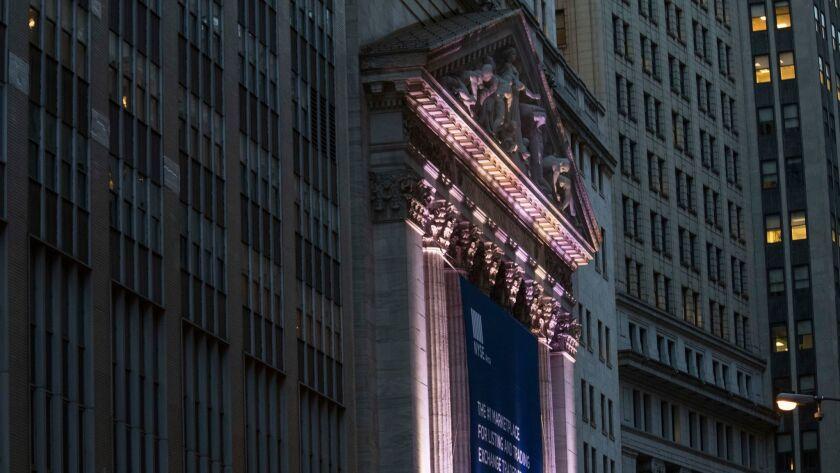 The New York Stock Exchange in lower Manhattan.