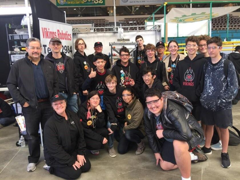 La Jolla High School's Vikings robotics team is shown at their booth at the First Robotics regional competition, held at Del Mar Fairgrounds.