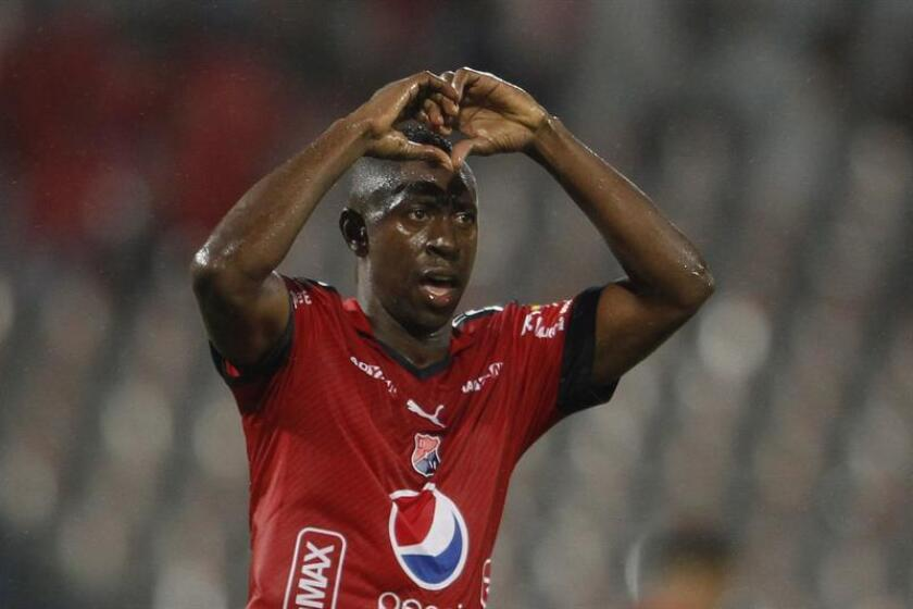 Juan Fernando Caicedo from Independiente Medellín celebrates a goal in a match between Independiente and Sol de America May 10, 2018, at the Atanasio Girardot stadium in Medellin (Colombia). EPA- EFE FILE/LUIS EDUARDO NORIEGA