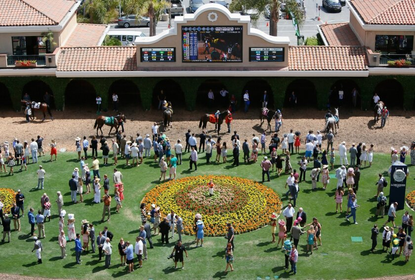 Fans watch as horses circle the paddock during Del Mar Opening Day.