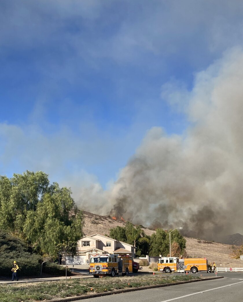 A fire broke out in the area of Chaparral Drive near Cuyamaca Street in Santee on Wednesday.