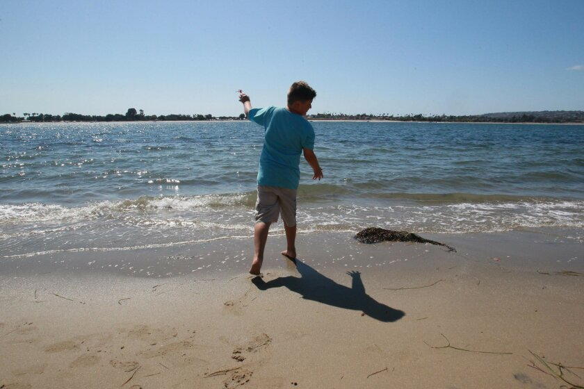 "10 year-old Hector Hardisty, from Chula Vista, tried to ""rescue"" the crabs by throwing them back into Mission Bay.  Beachgoers have been seen pelagic red crabs washing ashore all over the San Diego coastline from Imperial Beach up to north county this week.  The small crustaceans, also called tuna"