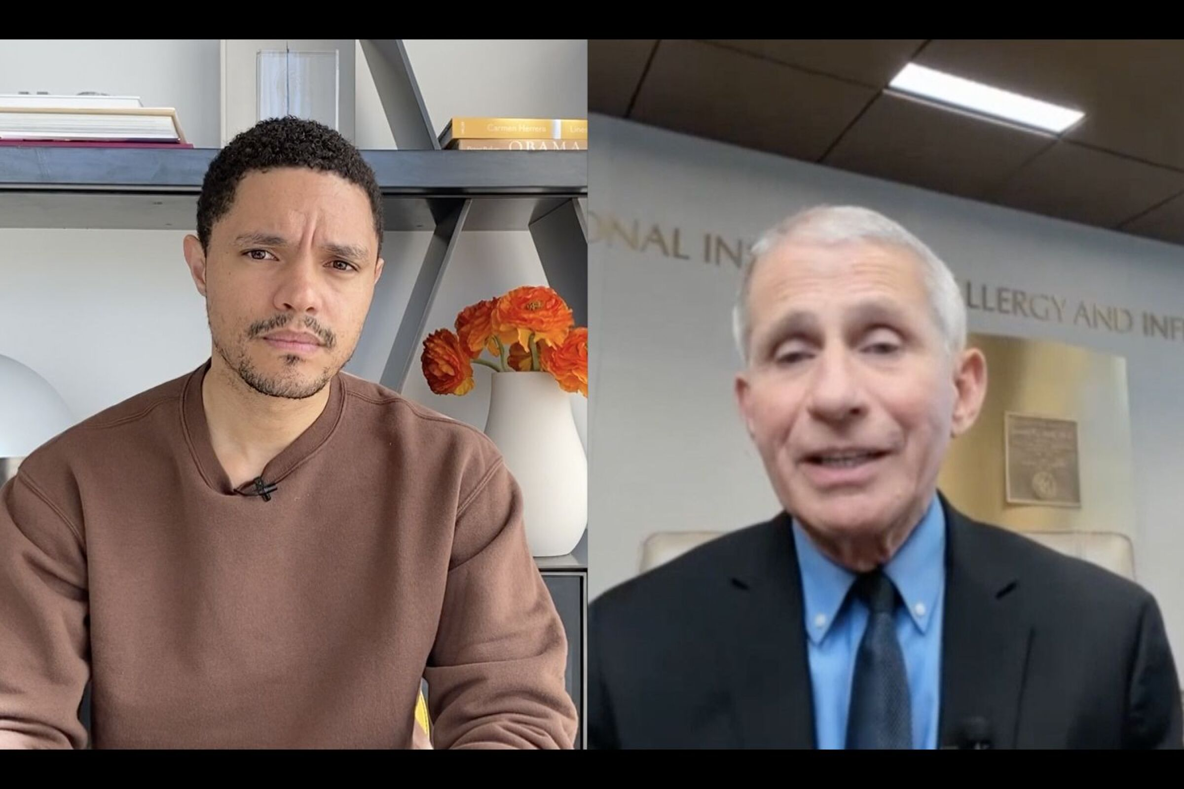 Side-by-side images of Trevor Noah and Anthony Fauci.