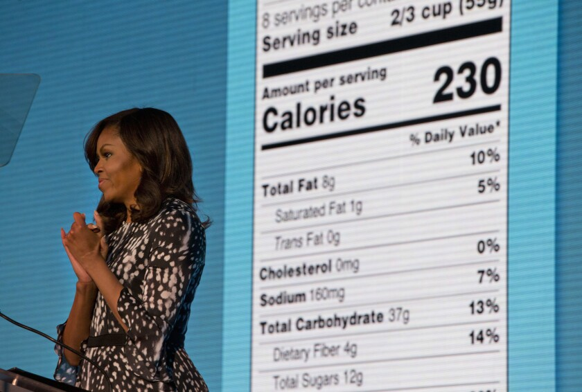 Michelle Obama announces a makeover for food nutrition labels in Washington on May 20.